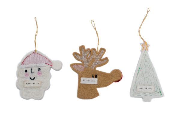 Embroidery Christmas ornament set (3 in 1)
