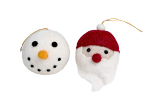 Santa & snowman ornament