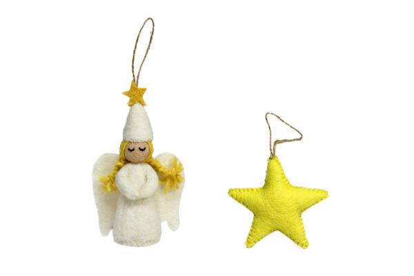 Angel & star ornament set (2 in 1)